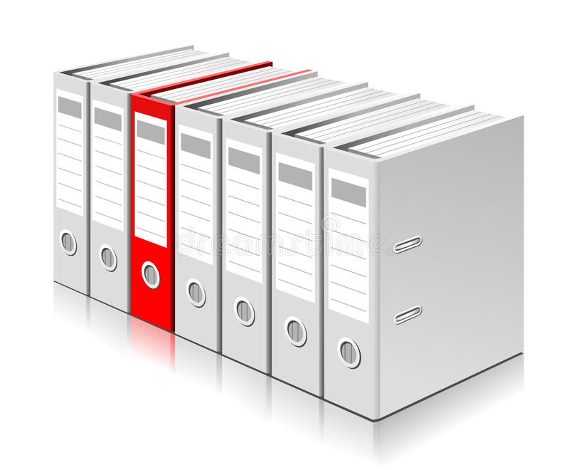 Choosing the right folder with documents stock illustration