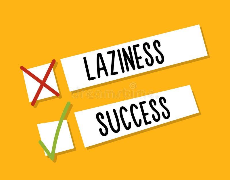 Choosing between starting laziness or success. Motivational design. Fight against procrastination. Choose success. stock illustration