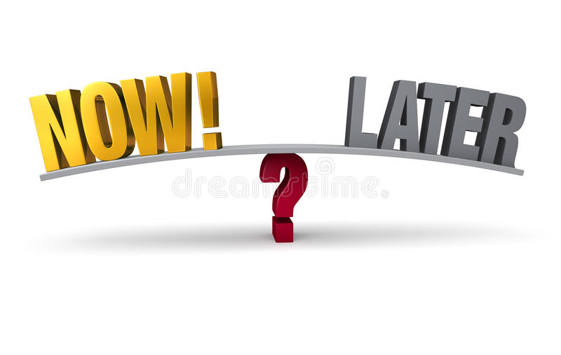 Choosing To Act Now Or Later vector illustration