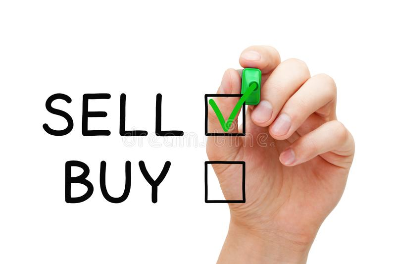 Choosing To Sell Not To Buy Check Mark Concept royalty free stock images