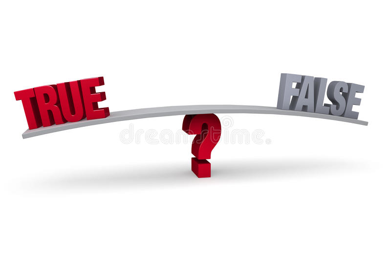 Choosing Between True and False. A red TRUE and a gray FALSE sit on opposite ends of a gray board which is balanced on a red question mark. on white vector illustration