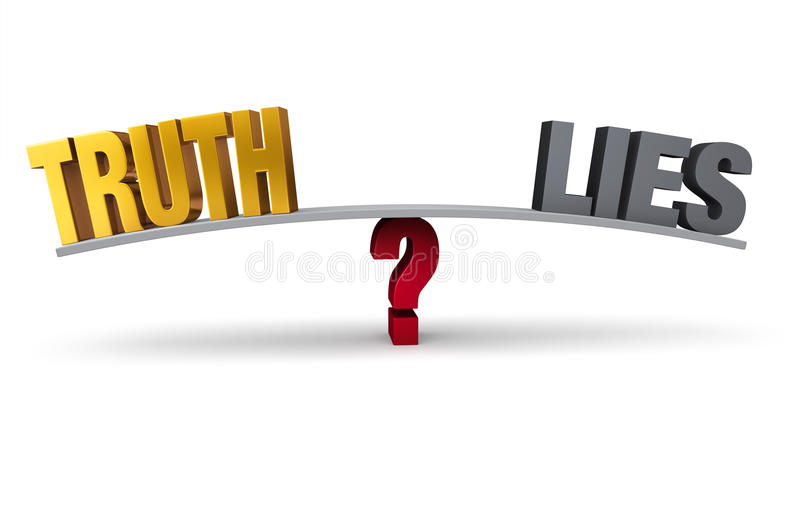 Choosing Between Truth And Lies. Bright, gold TRUTH and dark, gray LIES sit on opposite ends of a gray board balanced on a red question mark. on white vector illustration