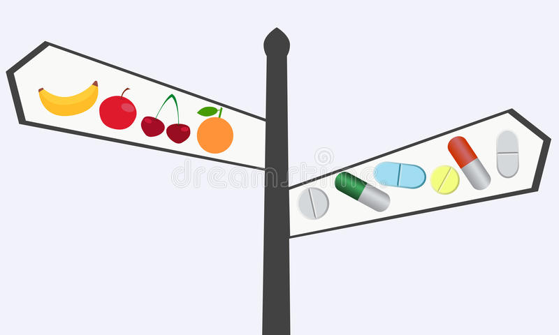 Choosing between vitamins. The choice between natural and synthetic vitamins. Pointer of pills and fruit vector illustration