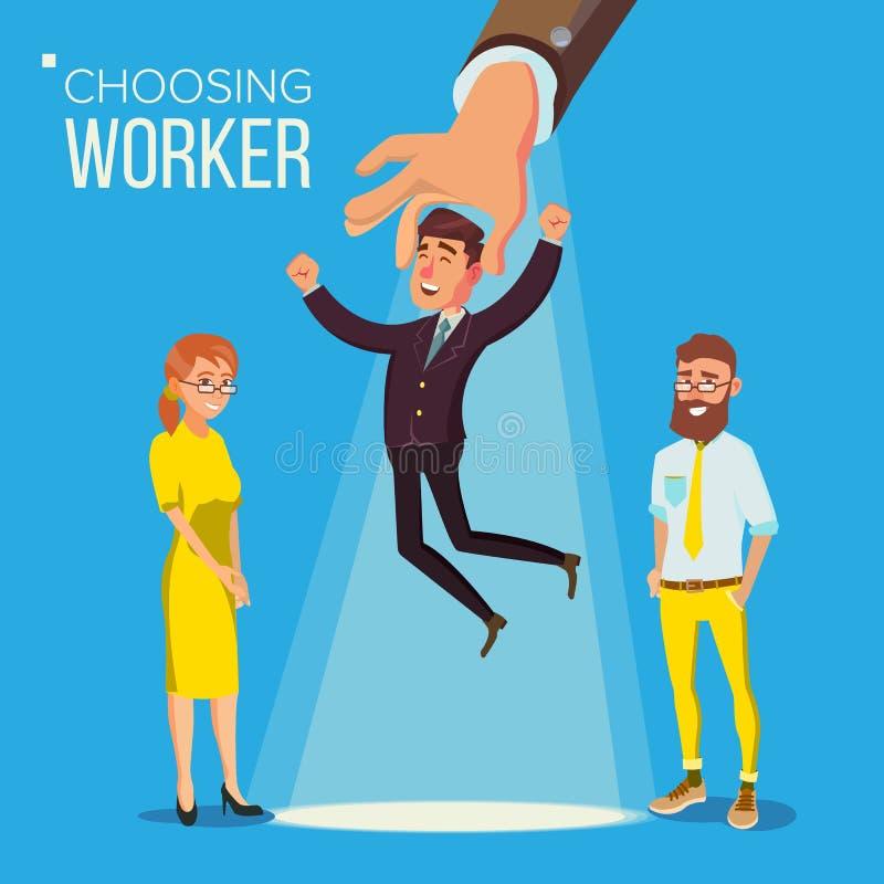 Choosing Worker Vector. Smiling Business Man In Suit. vector illustration