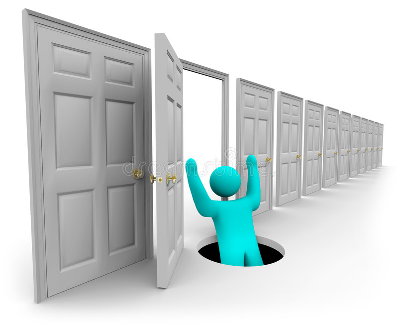 Choosing the Wrong Door. A figure opens the wrong door and falls in a hole royalty free illustration
