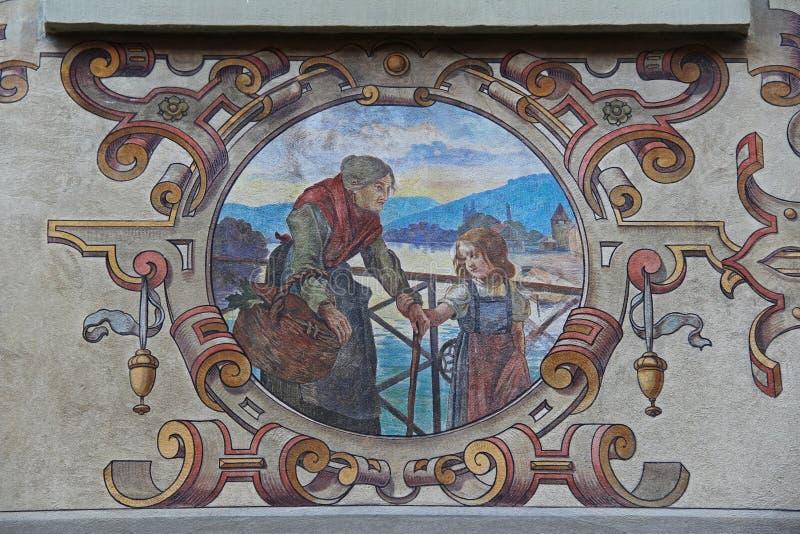 Chope en grès-être-rhein, Suisse Les fresques sur les bâtiments de la Renaissance image libre de droits