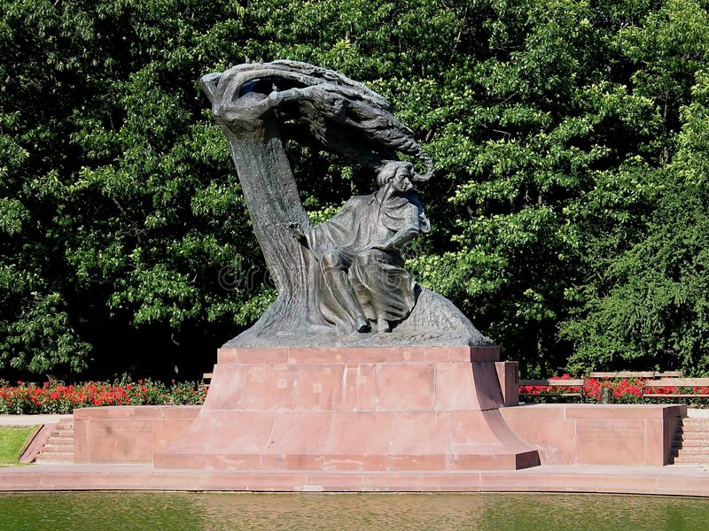 Chopin Monument in Warsaw, Poland stock photo
