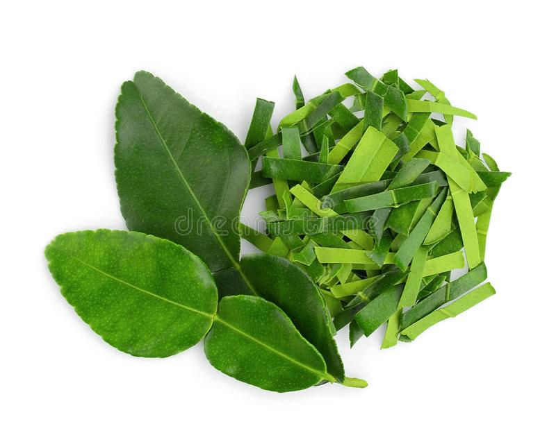 Chopped bergamot leaf with bergamot leaf isolated on white background, top view royalty free stock images