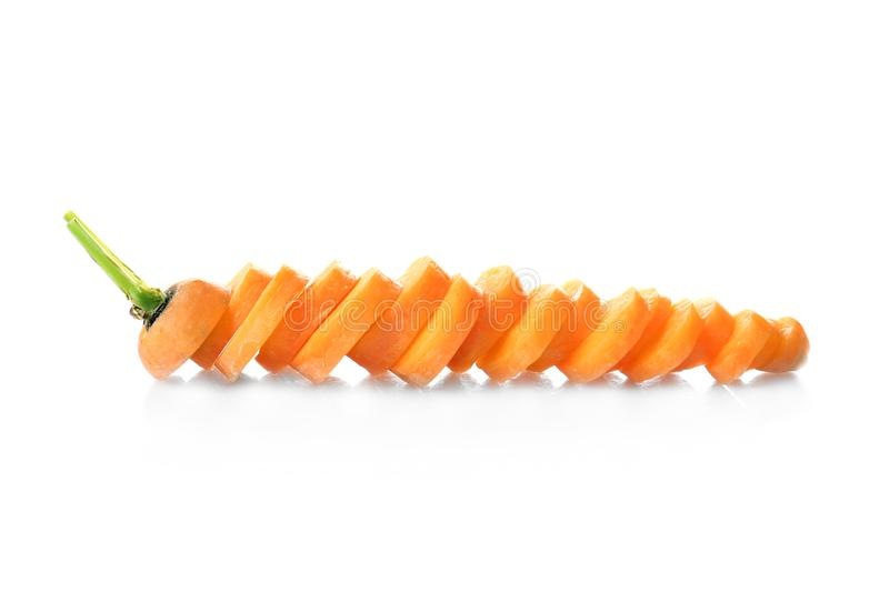 Chopped carrot isolated. On white royalty free stock photo