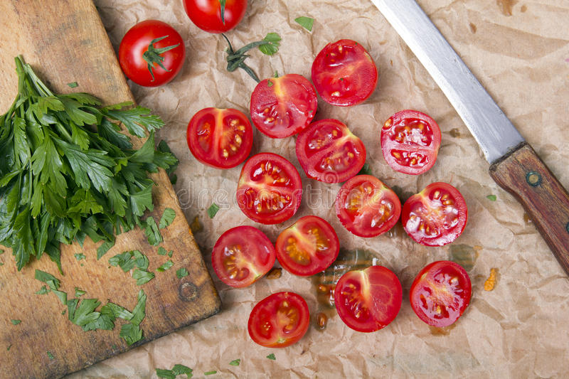 Chopped cherry tomatoes. Tasty vegetables stock image