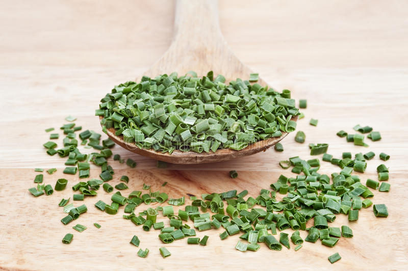 Download Chopped Chives On Wooden Serving Spoon Stock Photo - Image: 23704090