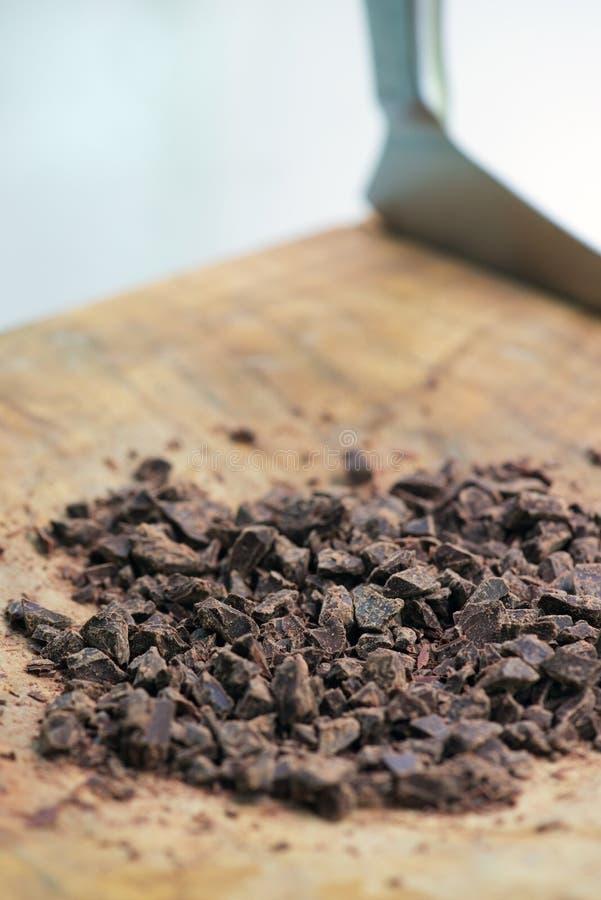 Chopped chocolate stock photography