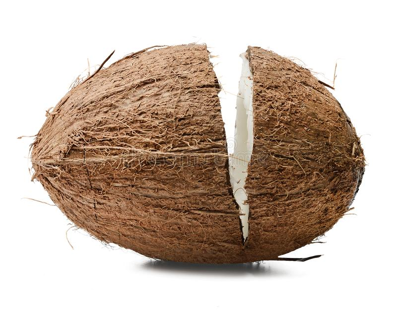 Chopped coconut. Isolated white background. Close-up. Good detail. stock photos