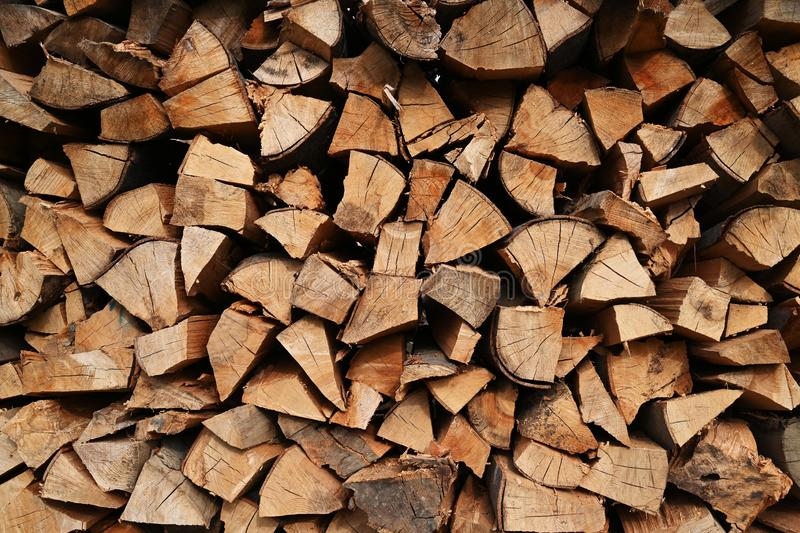 Chopped fire wood stack outdoor. For winter time royalty free stock photo