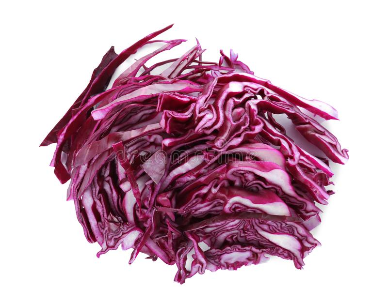 Chopped fresh red cabbage on white, above view. Chopped fresh red cabbage isolated on white, above view royalty free stock images