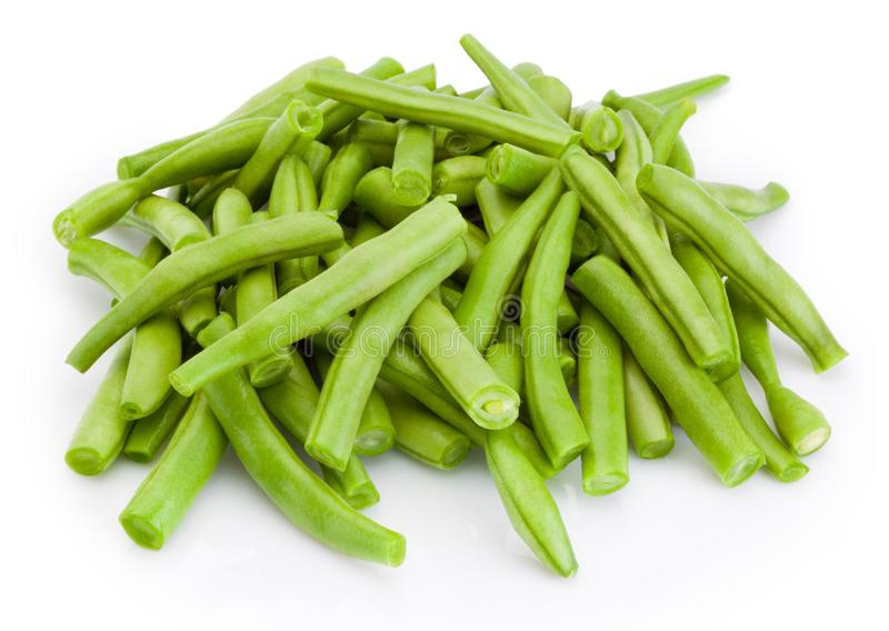 Chopped green beans isolated on white background stock photo