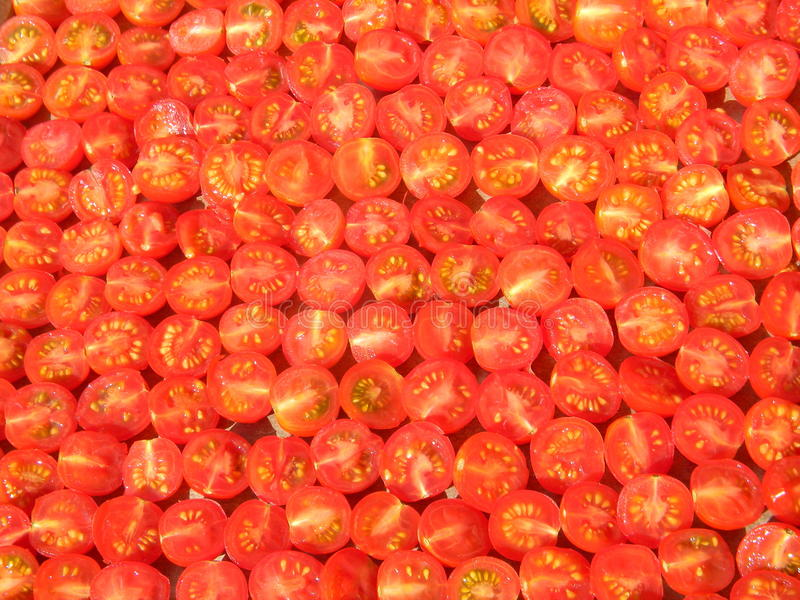 Chopped organic red tomatoes ready for drying, abstract background. Chopped organic red tomatoes ready for drying. Abstract background stock photo