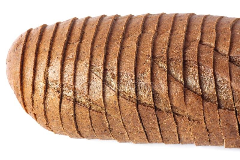 Chopped Rye bread on a white background isolated. Rye bread on a white background isolated. Chopped bakery products made with various percentages of flour from stock photo