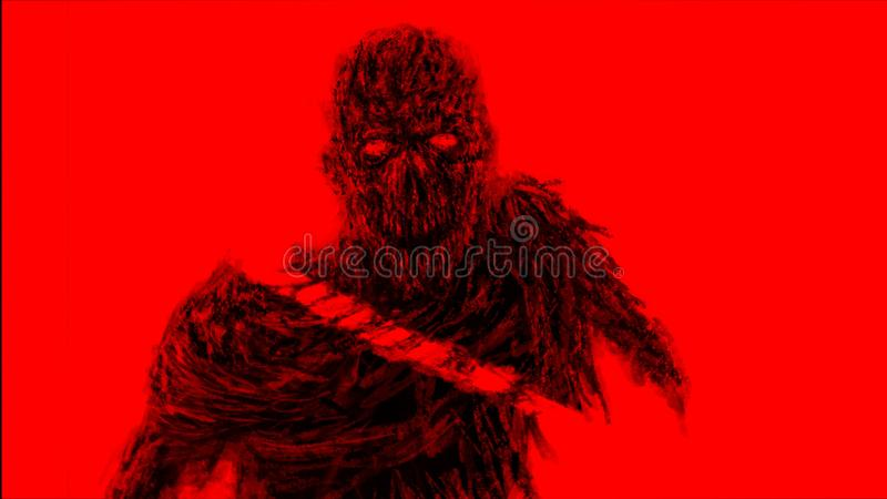 Chopped by sword zombies monster. Red background color. Chopped by sword zombies monster. Illustration in the horror genre. Horror character concept. Red vector illustration