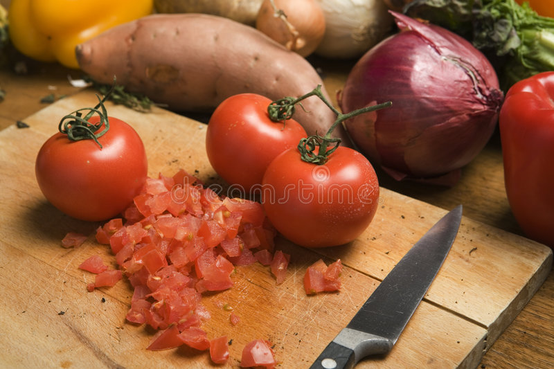 Chopped tomatoes royalty free stock images