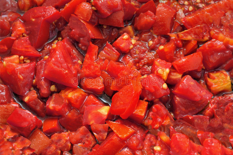 Chopped Tomatoes for Pasta stock photography