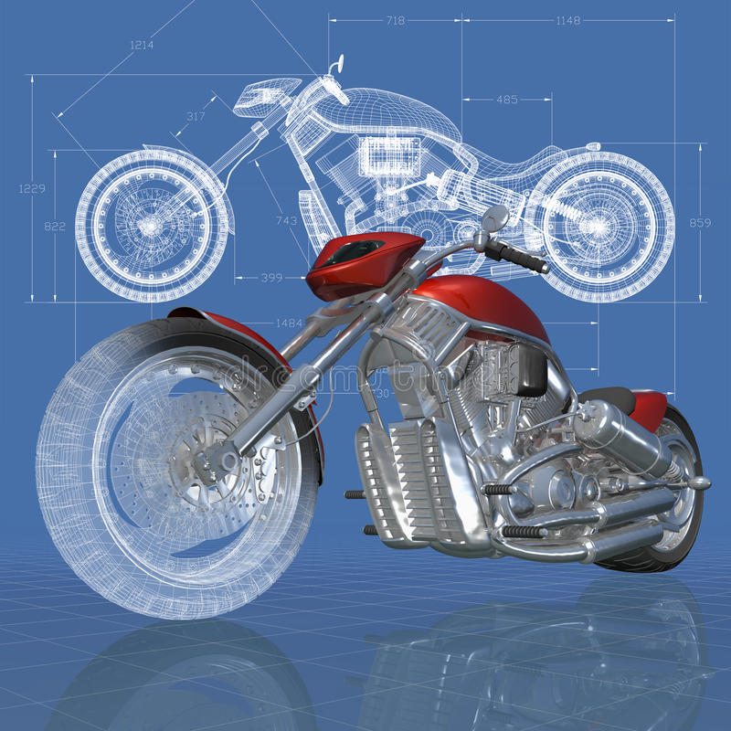 Chopper. 3D isometric view of motorcycle on the engineer's drawing vector illustration