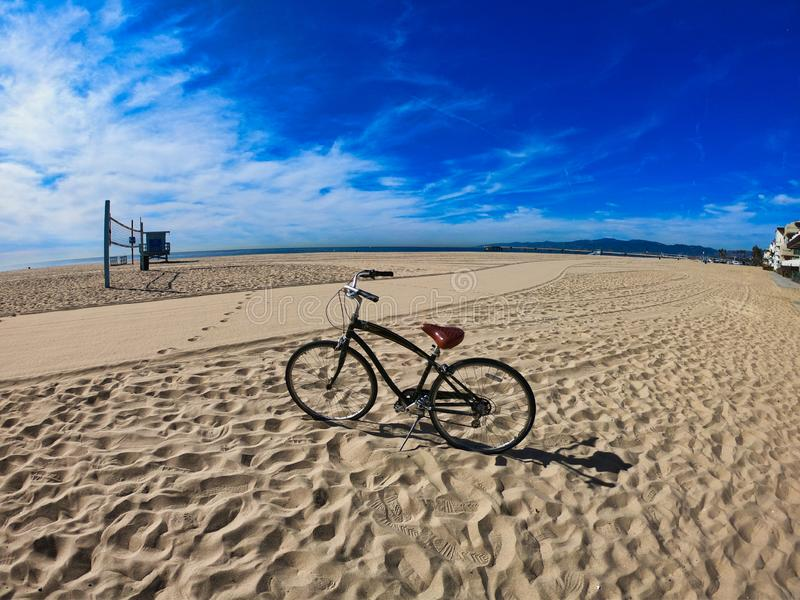 Chopper bike on the sand of santa monica beach stock photo