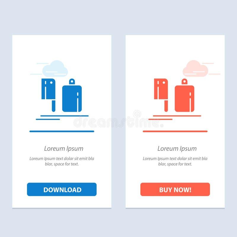 Chopper, Küche, Chef, Zubereitung, Food Blue und Red Download und Jetzt kaufen Web Widget Card Vorlage stock abbildung