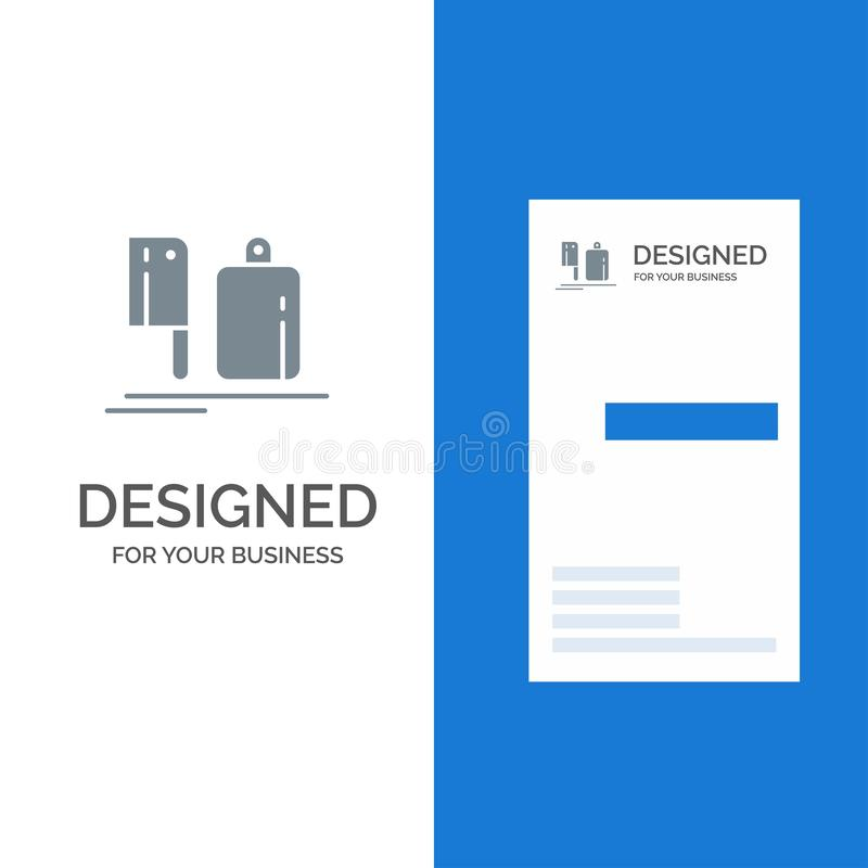 Chopper, Kitchen, Chef, Preparation, Food Grey Logo Design and Business Card Template stock illustration