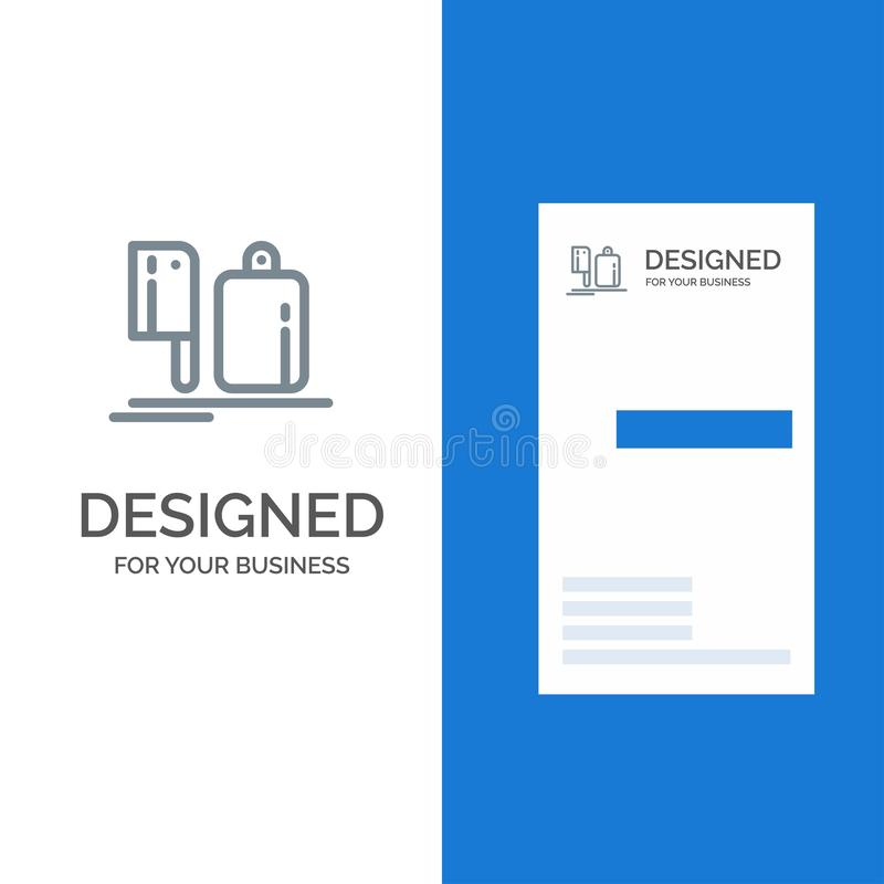 Chopper, Kitchen, Chef, Preparation, Food Grey Logo Design and Business Card Template royalty free illustration