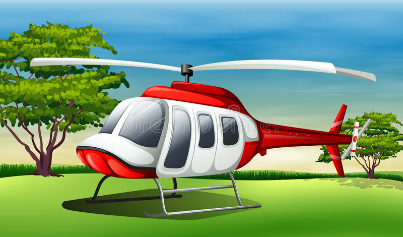 A chopper landing. Illustration of a chopper landing stock illustration