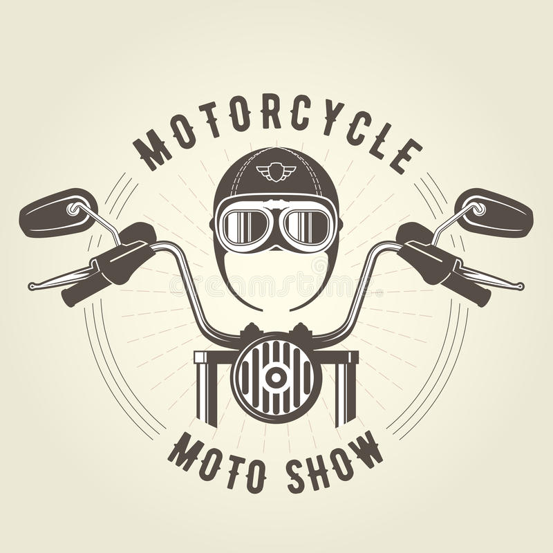 Chopper moto handlebar and vintage motorcycle helmet vector illustration
