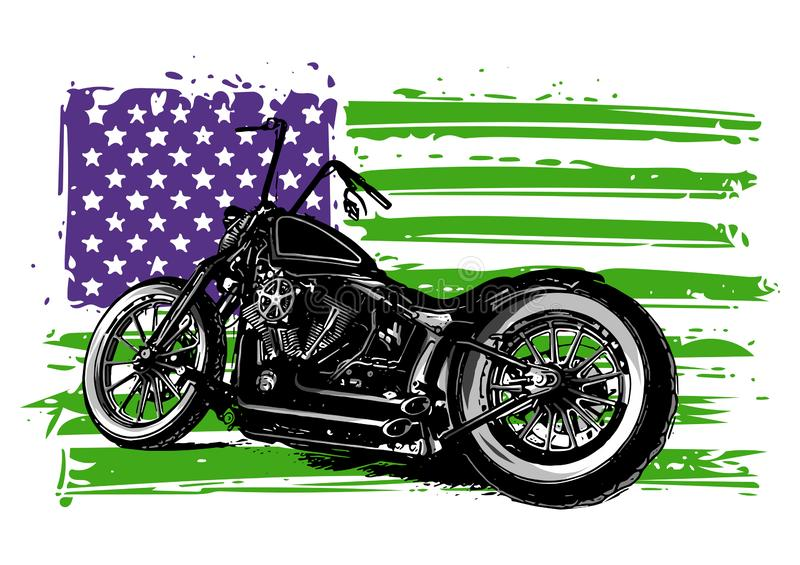 Chopper motorcycle with the american flag illustration. Chopper motorcycle with the american flag vector illustration