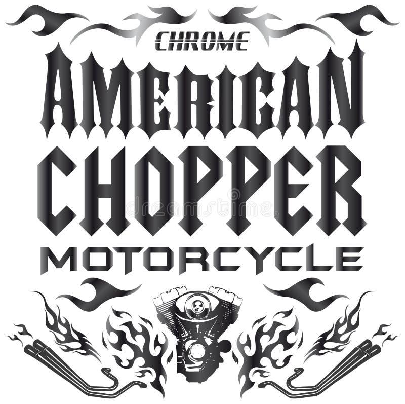 Chopper Motorcycle-Elemente - Beschriftung stock abbildung