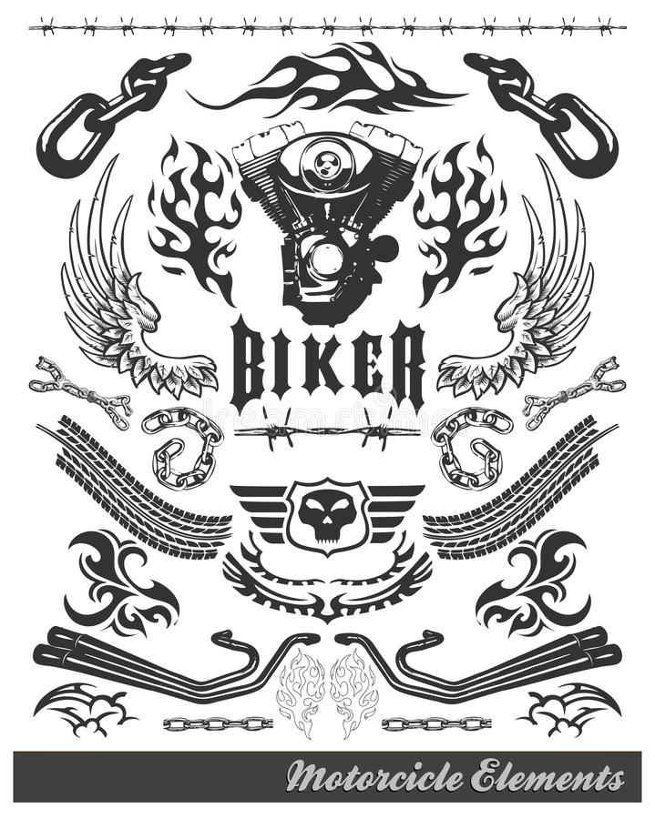 Free Chopper Motorcycle Elements - Vector - Eps Stock Images - 22217344
