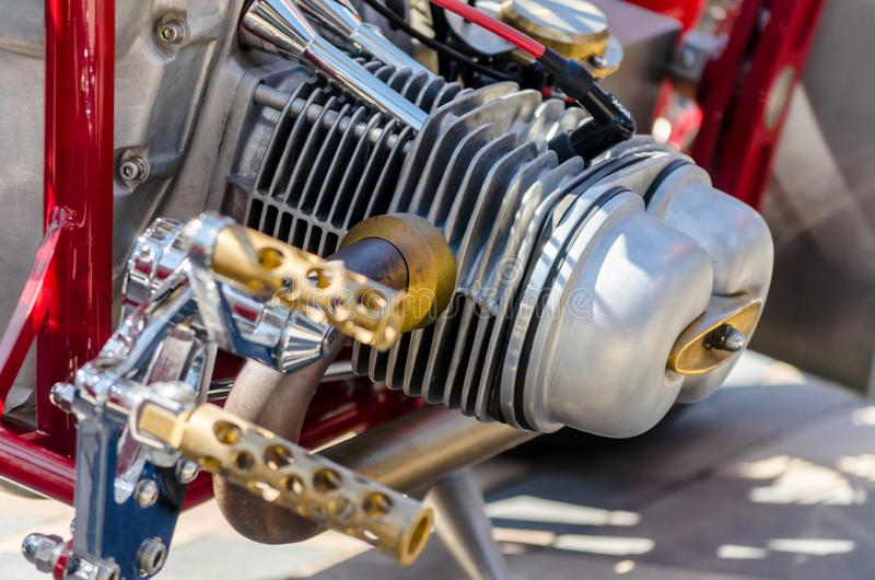 Chopper motorcycle engine fragment closeup stock photography