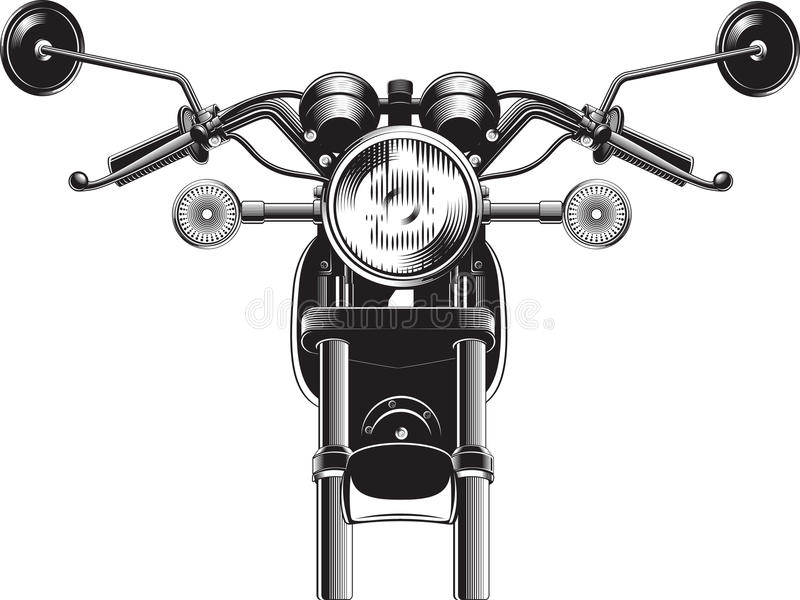 Chopper motorcycle front side. vector illustration