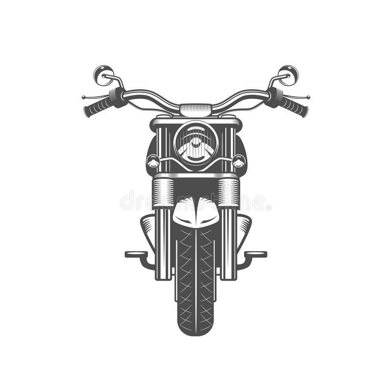 Chopper motorcycle front side isolated vector illustration