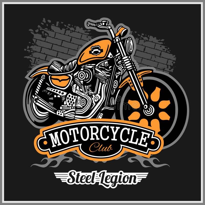 Chopper Motorcycle typografi - t-skjorta vektordiagram royaltyfri illustrationer