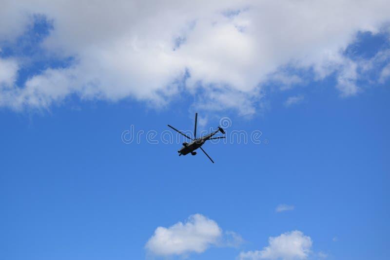 Chopper Rescue Show bij St pauli-Landungsbrucken, Hafengeburtstag - de Viering van de Havenverjaardag in Hamburg, Duitsland stock foto
