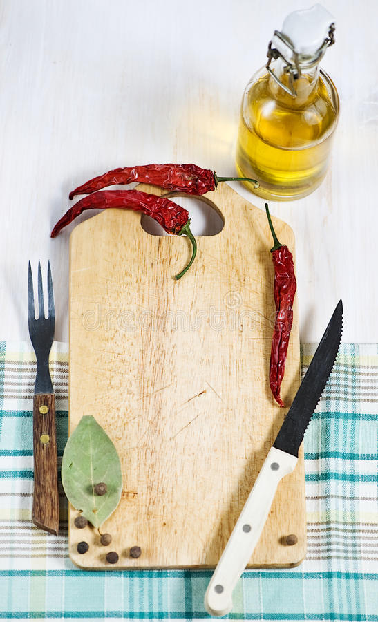 Download Chopping Board, Pepper, Fork And Knife Stock Image - Image: 26004071