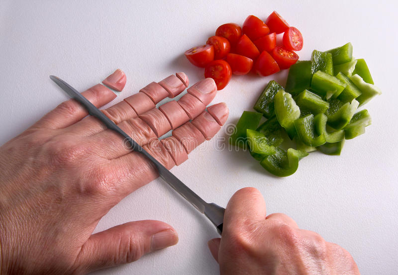 Download Chopping Fingers On Cutting Board Stock Photo - Image of ouch, disturbing: 16339906