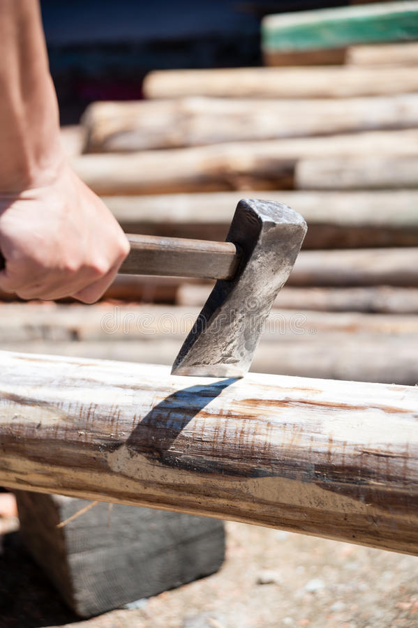 Chopping Fire Woods with Axe royalty free stock photo