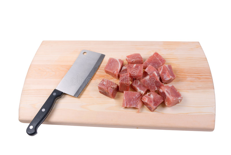 Chopping of meaton wooden board stock photo