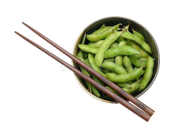 chopsticks κύπελλων edamame στοκ εικόνες με δικαίωμα ελεύθερης χρήσης