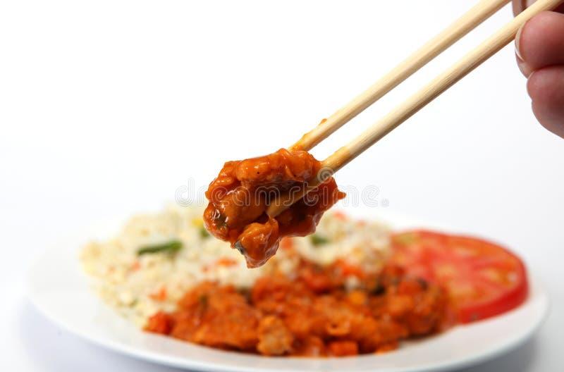 chopsticks ξινίζουν το γλυκό στοκ εικόνα