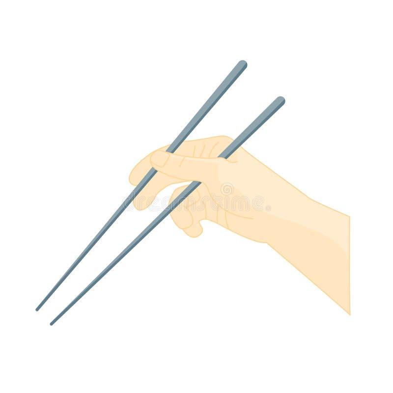 Chopsticks χρήσης χεριών κουζίνα Ασιάτης διάνυσμα ελεύθερη απεικόνιση δικαιώματος