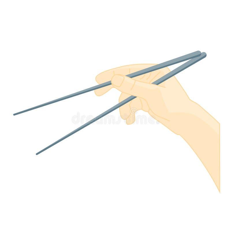 Chopsticks χρήσης χεριών κουζίνα Ασιάτης διάνυσμα διανυσματική απεικόνιση
