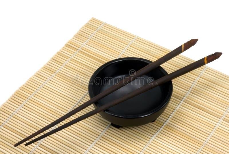 Download Chopsticks And Bowl - Horizontal Stock Photo - Image of black, ornate: 453874