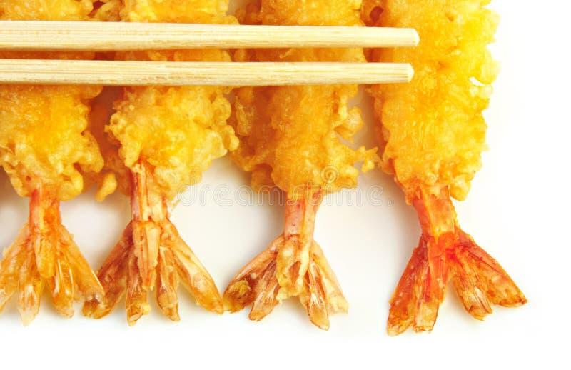 chopsticks garneli tempura obrazy stock